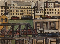 urban scene with train (paisaje urbano con tren) by julio alpuy