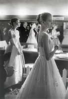 audrey hepburn and grace kelly backstage at the 28th annual academy awards, march 21, 1956 by alan grant © time inc. by life photographers