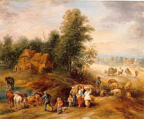 paysans retournant de la moisson by theobald michau