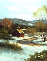 barn in winter (sold) by carolyn walton