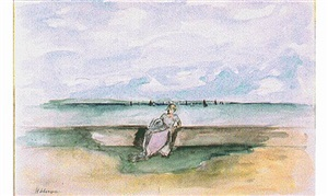 jeune fille au bord de la mer by henri lebasque