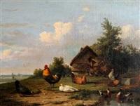 barnyard scene by cornelis van leemputten