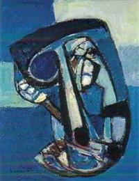 komposition blau / weiss / braun by carl walter liner