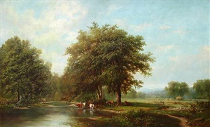 fishing along a stream with grazing cattle & men haying by joseph antonio hekking