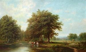 fishing along a stream with grazing cattle & men haying by joseph antonio hekking
