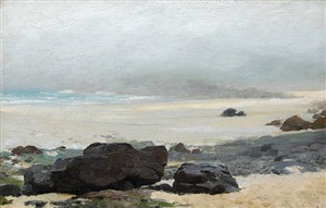 the beach, st. ives, cornwall, foggy morning by edward emerson simmons
