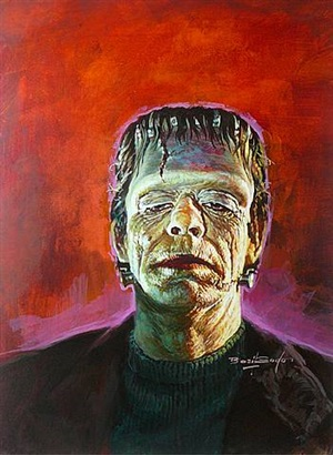 "glenn strange as the monster in ""abbot and costello meet frankenstein"" by basil gogos"