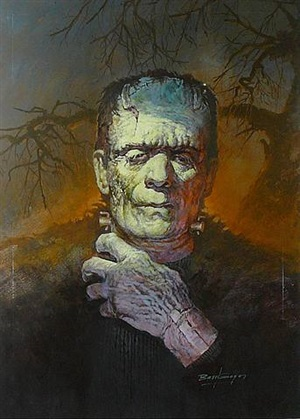 "barts karloff as the monster in ""son of frankenstein"" by basil gogos"