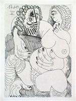 grosse prostituée sur les genoux d'un barbu by pablo picasso