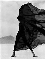 versace veiled dress, el mirage by herb ritts