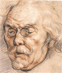 head of an elderly man, possibly adam van noort by jacob jordaens