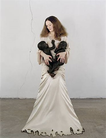white madonna with twins by vanessa beecroft