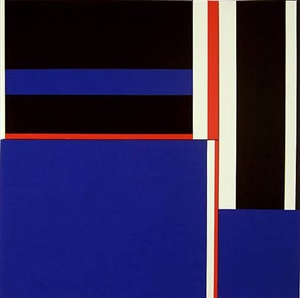 blue squares with red, black & white by ilya bolotowsky