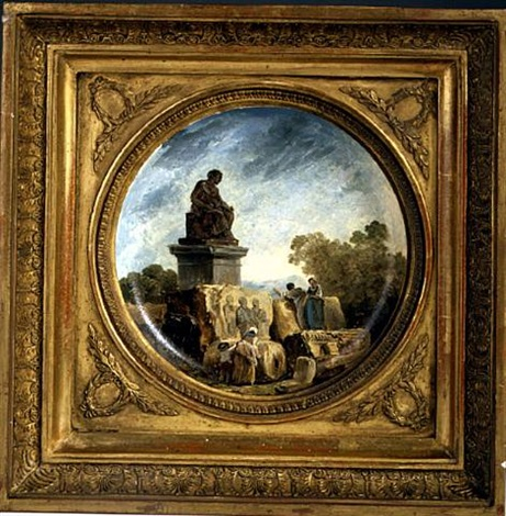 italian landscape with peasant woman standing by a statue by hubert robert