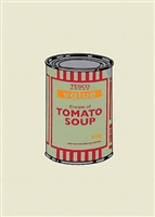 soup can (orange red) by banksy