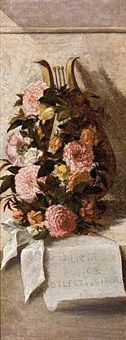 floral still life with roses and lyre by elizabeth l. boott