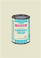soup can (turquoise pink) by banksy