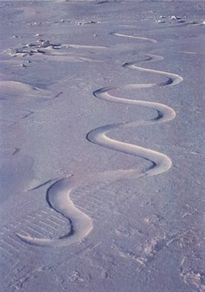 snow drift, carved into, waiting for the wind, grise fiord, ellesmere island, 12 april 1989 by andy goldsworthy