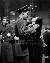 farewell at pennsylvania station (man embracing woman with dark hair) by alfred eisenstaedt