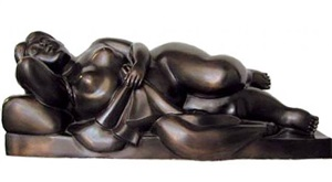 reclining woman with cloth by fernando botero