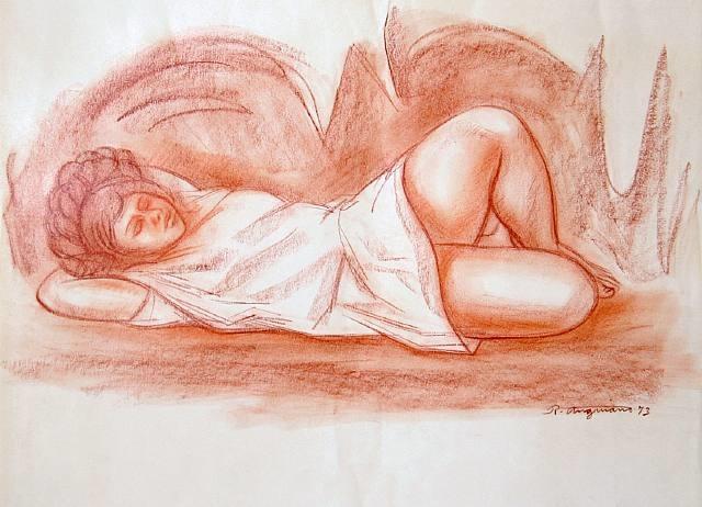 muchacha en una cueva by raúl anguiano