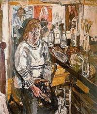 jean and table top with pineapple by john bratby