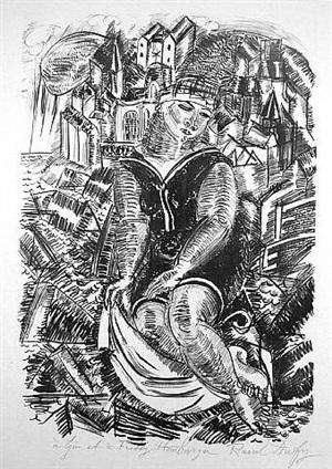 baigneuse devant un port (sainte adresse) by raoul dufy