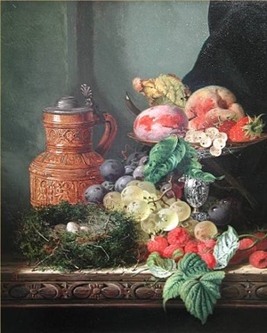 still life of fruit & birds nest on a wooden ledge by edward ladell