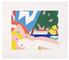 sunset nude with yellow tulips by tom wesselmann