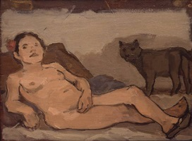 reclining female nude with cat by albert york