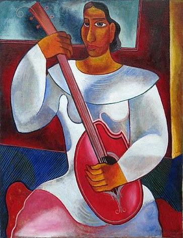woman with instrument by byron browne