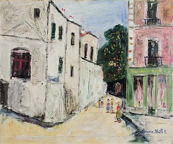 la belle gabrielle et la rue st. vincent by maurice utrillo