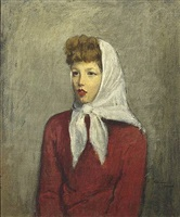 woman with scarf by raphael soyer