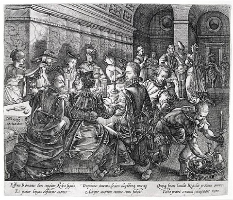 the banquet at the house of tarquinius, or the banquet of turquinius collatinus by hendrik goltzius