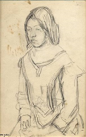 half length portrait of girl in pinafore, her hands in her lap, circa 1920s by gwen john
