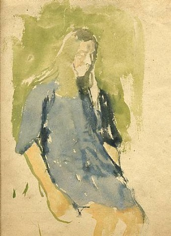 girl with long hair, in blue dress, circa 1910s by gwen john