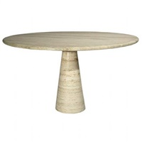 round travertine pedestal table by angelo mangiarotti