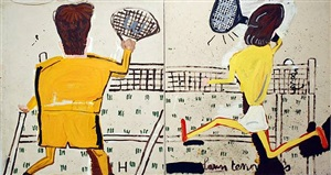 h & o lawn tennis by rose wylie