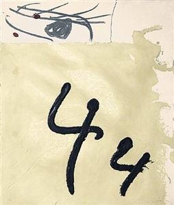 aiguafort amb collage by antoni tàpies