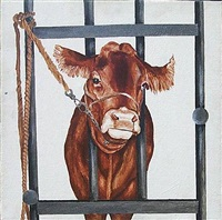 houston cow painting (light where the painting is painting where the light is #2) by jonathan borofsky