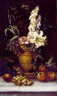 still life of flowers and fruit on a ledge (76) by edwin steele