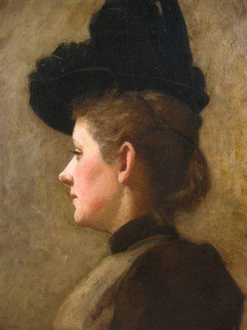 profile portrait of a woman with a dark hat by frank duveneck