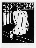 kauernder akt, vom ruecken gesehn (crouching nude seen from behind) by ernst ludwig kirchner