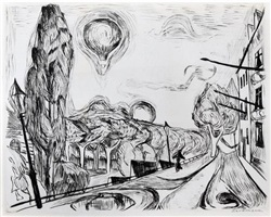 """landschaft mit ballon"" (landscape with balloon) by max beckmann"