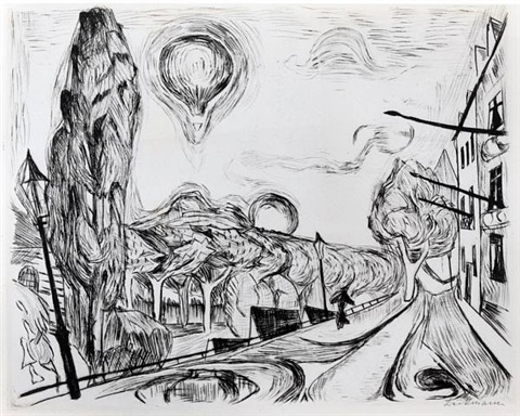 """landschaft mit ballon"" (landscape with balloon) by max beckmann"