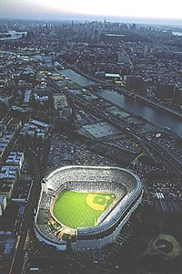 yankee stadium aerial at dusk, new york, september 6, 2005 (yankees vs. yankee stadium aerial at dusk, new york, september 6, 2005 (yankees vs. boston red sox) by neil leifer