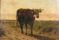 landscape with cow by jan vrolijk