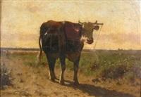 landscape with cow by jan vrolijk