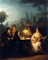 <i>a summer evening by lamp and by moonlight</i> by petrus van schendel