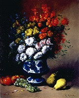 floral still life with fruit on a ledge by germain théodore ribot